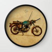ducati Wall Clocks featuring Ducati 125 Aurea 1958 by Larsson Stevensem