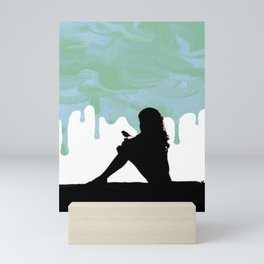 Girl with a bird over a dripping paint Mini Art Print