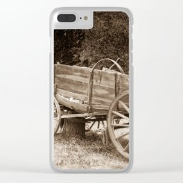 Old Wild West wagon abandoned in a meadow Clear iPhone Case