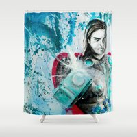 thor Shower Curtains featuring thor by Lyxy