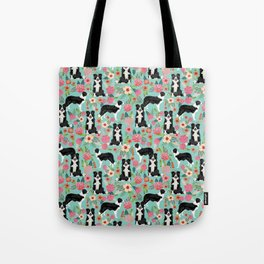 border collie cute florals mint pink black and white dog gifts for dog lover Tote Bag