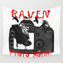 Raven Photo Bomb! Wall Tapestry