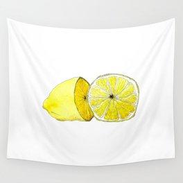 Lemon Lust on White Wall Tapestry