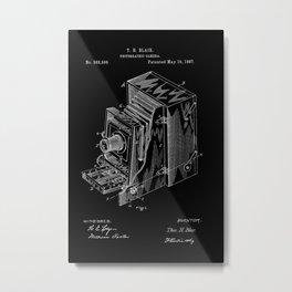 Vintage Camera Patent - White on Black Metal Print