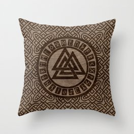 Valknut Symbol and Runes on Celtic Pattern on Wood Throw Pillow