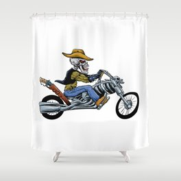 skull ride a big motorcycle Shower Curtain