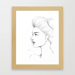 A loney girl in this beautiful world Framed Art Print