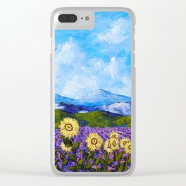 Sunflowers and Lavender In Provence Clear iPhone Case