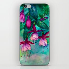 Watercolor fuschia flowers whimsical painting iPhone Skin