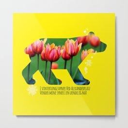 Berlin Bear - Tulips Metal Print