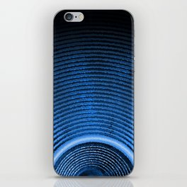Blue music speaker and sound waves iPhone Skin