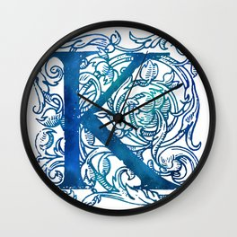 Letter K Antique Floral Letterpress Wall Clock