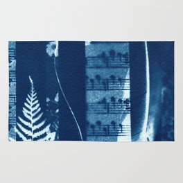 Fragments of the Past (34), art print, collage, blue print, cyanotype print, wall art, wall decor Rug