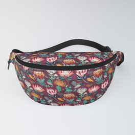 Sunbirds and Proteas On maroon Fanny Pack