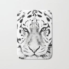 White Tiger Print Bath Mat