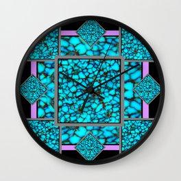 Western  Black-Purple Turquois Birthstone  Inlay Design Wall Clock