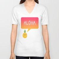 aloha V-neck T-shirts featuring Aloha by Elisabeth Fredriksson