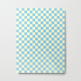 Cream Yellow and Baby Blue Checkerboard Metal Print