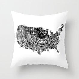United States Print, Tree ring print, Tree rings, US map, Wood grain Throw Pillow