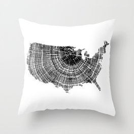 United States Print, Tree ring print, Tree rings, US map, Wood grain Throw Pillow