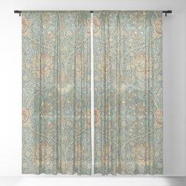 William Morris Vintage Honeysuckle & Tulip Green Privet Honeycomb Floral Sheer Curtain