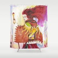 "wizard Shower Curtains featuring Red wizard by Barbara ""Yuhime"" Wyrowińska"