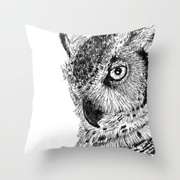 Ink Owl Throw Pillow