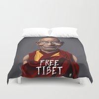 lama Duvet Covers featuring Celebrity Sunday ~ Dalai Lama (FREE TIBET SPECIAL) by rob art | illustration