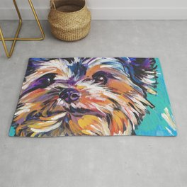 Fun Yorkie Dog Portrait bright colorful Pop Art Painting by LEA Rug