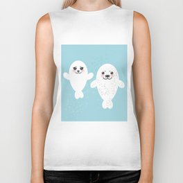 set Funny white fur seal pups, cute winking seals with pink cheeks and big eyes. Kawaii animal Biker Tank