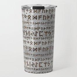 Elder Futhark Pattern on birch texture Travel Mug