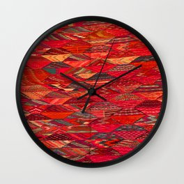 V35 Red Traditional Moroccan Artwork Pattern Wall Clock