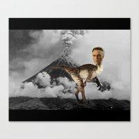 christopher walken Canvas Prints featuring ChristopheRAPTOR Walken - Christopher Walken Velociraptor by Kalynn Burke