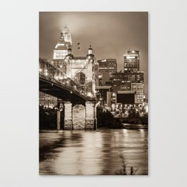 Cincinnati Skyline and John Roebling Bridge - Vertical Sepia I Canvas Print