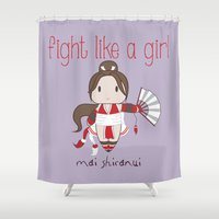 snk Shower Curtains featuring Fight Like a Girl - Mai Shiranui by ~ isa ~
