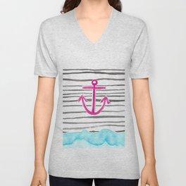 PINK Anchor Symbol - Stripes/blue  Unisex V-Neck
