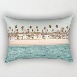 Vintage Newport Beach Print {1 of 4} | Photography Ocean Palm Trees Teal Tropical Summer Sky Rectangular Pillow