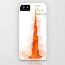 Burj Khalifa, Dubai, Emirates in WaterColor Red iPhone Case