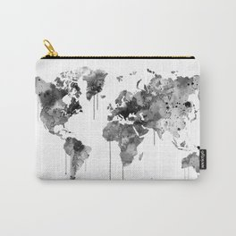 Watercolor World Map Grey Carry-All Pouch