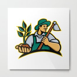 Organic Farmer Holding Plant Mascot Metal Print
