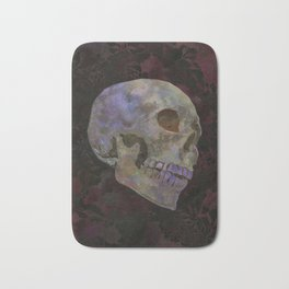 Gothic Skull Art Print | Halloween Home Décor Watercolor Skull Illustration - Dark Earth Brown Red Bath Mat