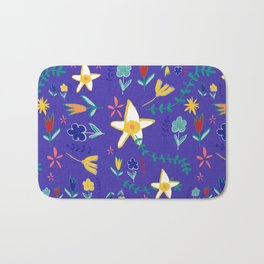 Floral The Tortoise and the Hare is one of Aesop Fables blue Bath Mat