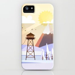 Vector Art Landscape with Fire Lookout Tower iPhone Case