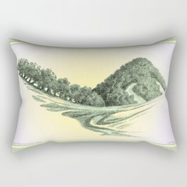 SEEING CALIFORNIA GREEN AGAIN COLORED VINTAGE CHARCOAL DRAWING Rectangular Pillow