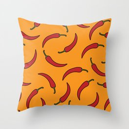Red chili pepper pattern Throw Pillow