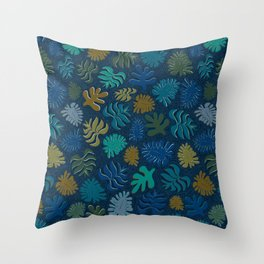 Moody Hawaii Quilted: Deep blues, with quilted water lines Throw Pillow