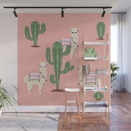 Alpaca with Cacti Wall Mural