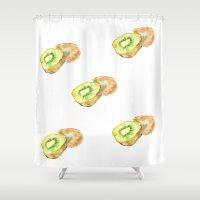 kiwi Shower Curtains featuring Kiwi by Imanol Buisan
