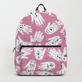 Indian summer bohemian hamsa hand of fatima pattern pink Backpack