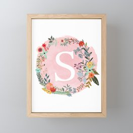 Flower Wreath with Personalized Monogram Initial Letter S on Pink Watercolor Paper Texture Artwork Framed Mini Art Print